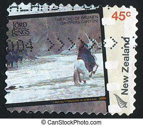 Lord of the Rings Movie - NEW ZEALAND - CIRCA 2004: stamp...