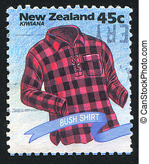 Bush Shirt - NEW ZEALAND - CIRCA 1994: stamp printed by New...
