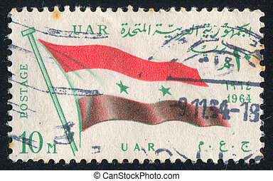 flag UAR - EGYPT - CIRCA 1964: stamp printed by Egypt, shows...