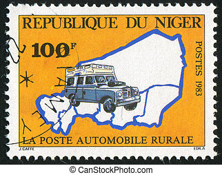 NIGER - CIRCA 1983: stamp printed by Niger shows Van, Map,...