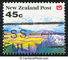 mountain tops - NEW ZEALAND - CIRCA 1992: stamp printed by...