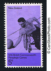 Paraplegic Ballplayer - NEW ZEALAND - CIRCA 1974: stamp...