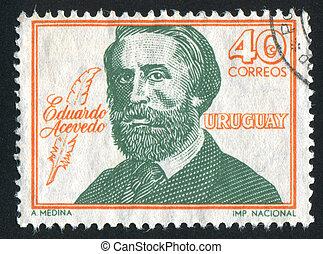 Eduardo Acevedo - URUGUAY - CIRCA 1967: stamp printed by...