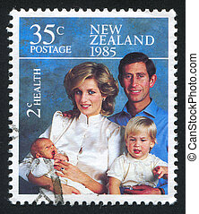 Princess Diana - NEW ZEALAND - CIRCA 1985: stamp printed by...