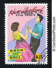 Couple Dancing Rock and Roll - NEW ZEALAND - CIRCA 1994:...