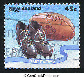 Rugby shoes - NEW ZEALAND - CIRCA 1994: stamp printed by New...