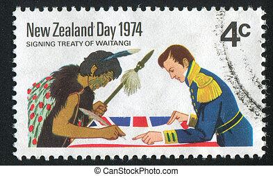 Signing Treaty of Waitangi - NEW ZEALAND - CIRCA 1974: stamp...