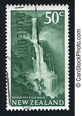 Sutherland Falls - NEW ZEALAND - CIRCA 1967: stamp printed...