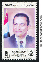 Mohamed Hosni Mubarak - EGYPT - CIRCA 1993: stamp printed by...