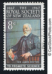 James Hector - NEW ZEALAND - CIRCA 1967: stamp printed by...