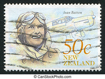Jean Batten - NEW ZEALAND - CIRCA 1990: stamp printed by New...