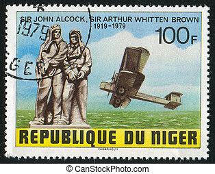 Biplane - NIGER - CIRCA 1979: stamp printed by Niger shows...