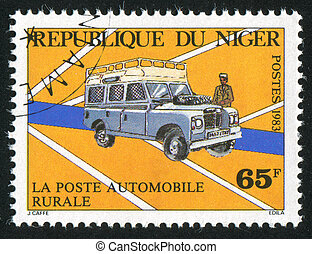 Mail Van - NIGER - CIRCA 1983: stamp printed by Niger shows...