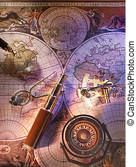 Old nautical map with compass and brass telescope