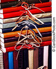 Journals for Sale - Leather-bound journals on display for...