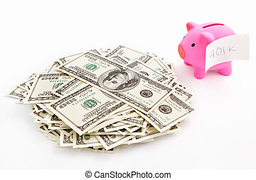 Piggy bank 401K and dollar - Pink piggy bank with sticker...