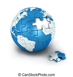 blue earth of puzzle with one piece missing, isolated white...