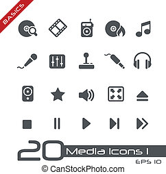 Media Icons Basics - Vector icons for your web or printing...
