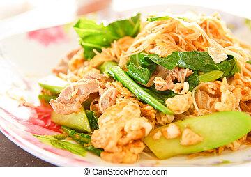 Stir-fried noodles with shrimps and vegetables - Stir-fried...