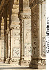 Red Fort in Delhi - architectural detail of the Red Fort in...