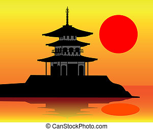silhouette of a pagoda on an orange background