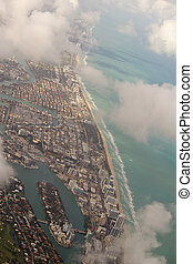 Miami city Downtown Buildings aerial view with blue sea