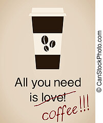 All You Need Is - All you need is coffee card in vintage...