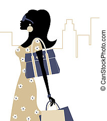 Summer Shopping - Illustration of a young fashionable woman...