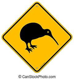 Kiwi Yellow Sign - Classic New Zealand bird symbol on yellow...