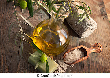 Natural spa setting with olive oil - Natural spa setting...