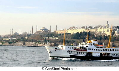 Istanbul from the waterside - Istanbul ferry sails in front...