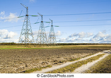 Transmission line support - Power Transmission Line on the...