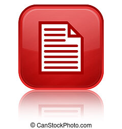 Documents glossy button - documents icon on glossy red...