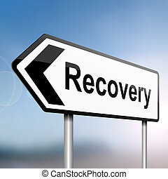Recovery concept - illustration depicting a sign post with...