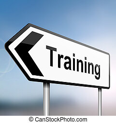 Training concept. - illustration depicting a sign post with...