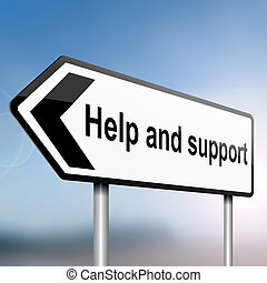 Help and support. - illustration depicting a sign post with...