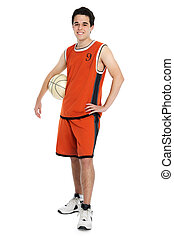 Basketball player on white background