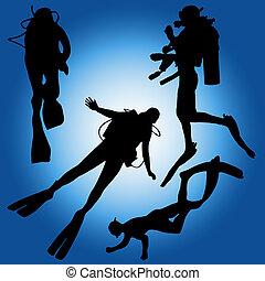 diver deep blue oxygen silhouette