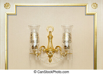 Wall Gold Chandelier Abstract - Luxurious Ornate Gold Wall...