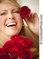 Woman with a Bunch of Red Roses.