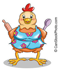 the home hen - colored illustration of a home hen