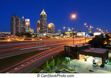 Midtown Atlanta - Interstate 85 runs below the skyline of...