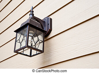Porch light on urban home
