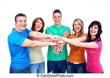 Group of happy people Isolated over white background