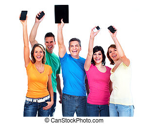 people with smartphones - group of happy people with...