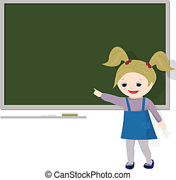 Girl pointing at blackboard, isolated on white
