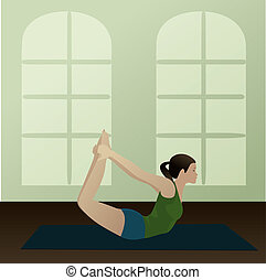 Bow Pose, Dhanurasana - Young woman practicing yoga Bow...