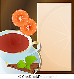 Cup of tea with cinnamon flavor.