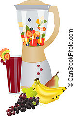 Fruit fusion - Mixer with fresh slices fruits...