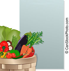 Grocery shopping list - A basket with vegetables and note...